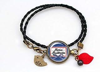 Bracelet Cadeau pour la maîtresse - Merci Maîtresse! - bleu rouge perles vintage École original tendance romantique idée c...