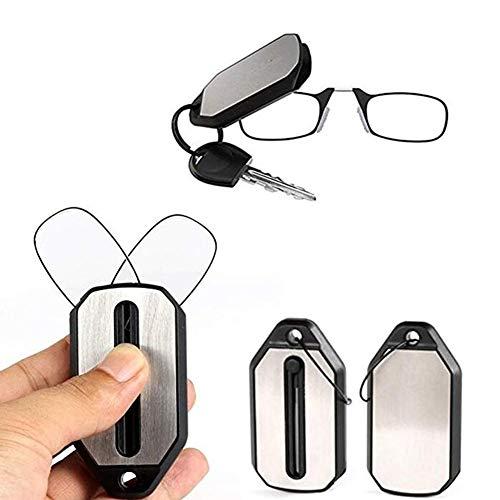 KafiGC8 unisex pieghevole naso clip occhiali da lettura portachiavi forza 1.5 2.0 2.5 3, Nero , 2.5