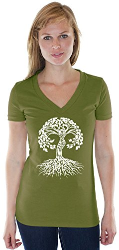 Yoga Clothing For You Ladies White Celtic Tree Hemp/Organic Cotton V-Neck Tee, Extra-Small Herb