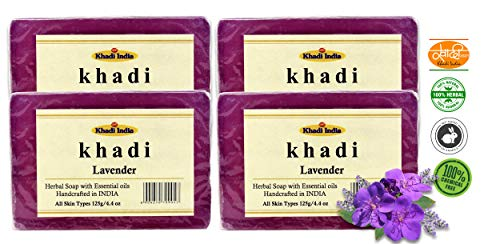 Khadi Pure Lavender Soap 125 gm (Pack of 4) by Eco aurous