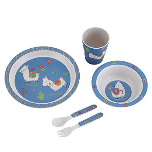 ZT Set vajilla Infantil de bambú sin BPA, 5 Piezas, Servicio de Mesa cubertería para niños Vaso de Beber Plato para niños, Ecológico y Biodegradable. (Llama)