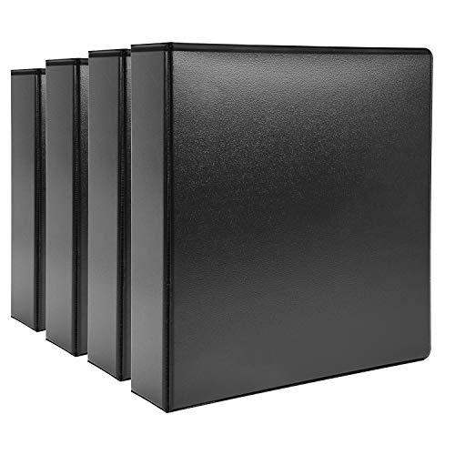 AmazonBasics 2' Heavy-Duty View 3 Ring Binder, Black, 4/Pack