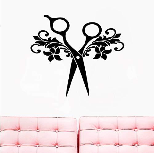 ZJfong 45x40 cm kapsalon teken sticker schaar kapper sticker vinyl muur sticker haar schoonheidssalon deur raam wanddecoratie