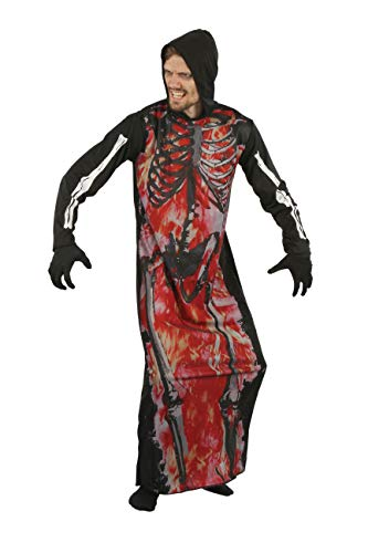 Bristol Novelty AF081 Skelett-Bademantel, Herren, Schwarz, Rot, Einheitsgröße