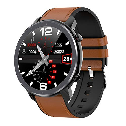 Reloj inteligente para hombre, ECG+PPG, monitor de presión arterial de frecuencia cardíaca, IP68, resistente al agua, GTR Smartwatch GT2 para Android e IOS (color negro añadir cuero)