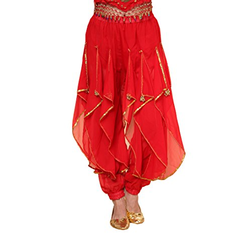 MUNAFIE Belly Dance Harem Pants Tribal Arabic Halloween Pants with Gold Trim Red,One Size
