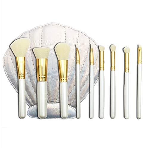 Maquillage WWGzai Pinceau, Solide en Bois Long Poteau en Vrac Poudre Brosse avec Sac Shell Portable