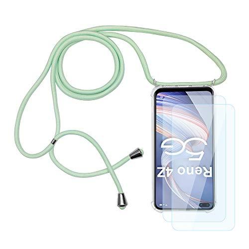 Funda con Cuerda para OPPO Reno 4Z 5G + 2PCS Protector Pantalla...