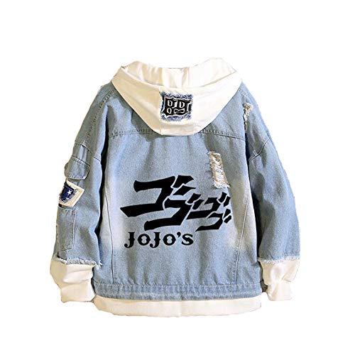 SUNKEE JoJo's Bizarre Adventure Cosplay Anime Unisex Nähen Kunst Mode Beiläufig Jeansjacke In Größe 3XL