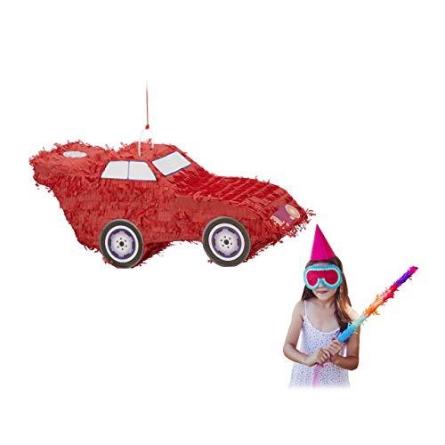 Relaxdays Pinata Auto, zum Aufhängen, Kinder, Jungs, Geburtstag, zum Befüllen, Partyspiel, HxBxT: 24 x 52 x 18 cm, rot