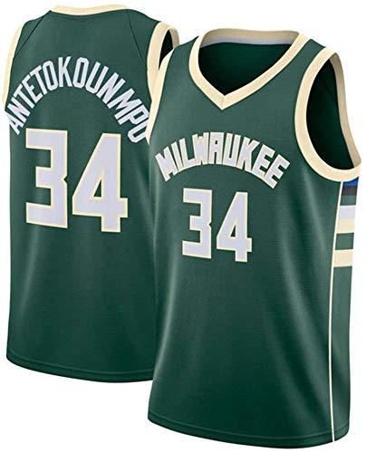 Oxyco Hombre los de Camiseta Jersey Milwaukee Bucks #34 Giannis Antetokounmpo Swingman Camiseta de Baloncesto (Verde, L (50))