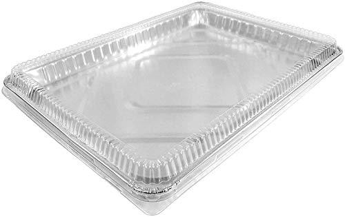 1/2 Size Sheet Cake Aluminum Foil Pan w/Clear Low Dome Lid (Pack of 10 Sets) 17.1' L x 12.3' W x 1.25' D