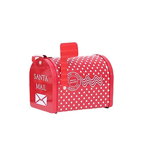 Buzón de Navidad caja de regalo con el regalo del hierro creativo puede presentar la caja con cerradura multifuncional caramelo Can para el hogar Navidad de los niños Decoración Wavepoint estilo 1