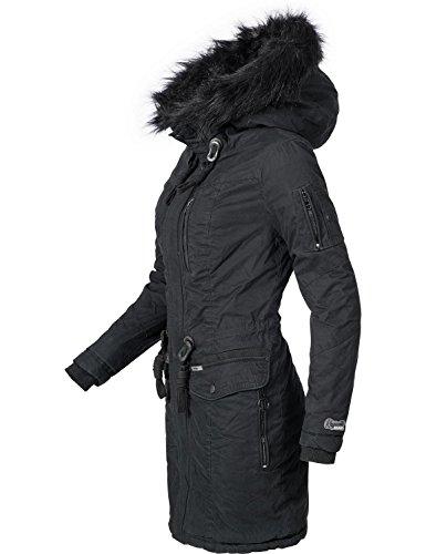 Khujo Damen Winter Mantel Baumwoll Parka YM-Anastina Schwarz Gr. S