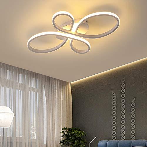 Wohnzimmerlampe Deckenleuchte Weiß LED Modern Dimmbar Esstisch Schlafzimmer Deko Decke Lampe mit Fernbedienung Blume-Shape Design Acryl-Schirm Pendelleuchte für Kinderzimmer Küche Bad Leuchte L60cm