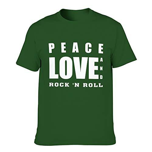 Camiseta de algodón para hombre, diseño con texto 'Peace Love and Rock 'N Roll divertido, elegante y ligero, impresión Dark Green001. XXXL