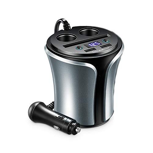Multi-fonctionnel Chargeur de tasse de voiture Double port Adaptateur de voiture USB avec diviseur d'allume-cigarette à 2 prises 140W 3.1A avec surveillance de tension led pour voiture 12V-24V,Gray
