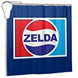 ENXIANGXIJ Waterproof Polyester Fabric Shower Curtain Legend of Zelda Pepsi Logo Mix Print Decorative Bathroom Curtain with Hooks,72'' X 72