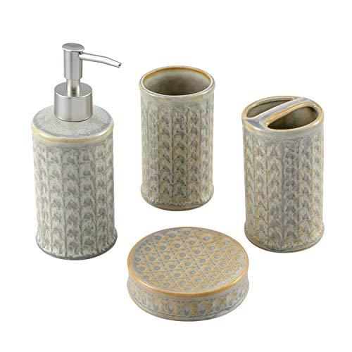 Cutiset Badezimmer Zubehör Set aus Keramik, Seifenspender, Zahnbürstenhalter, Zahnputzbecher, Seifenschale für Bath Decor Home Geschenk (Cyan und Gelb)