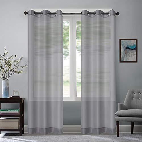 Rose Home Fashion Vorhang Transparent Weiß mit Ösen, 2 Stücke Voile Gardinen aus Terylen Ösenschal für Wohnzimmer Schlafzimmer 245 x 140 cm (H x B), Grau