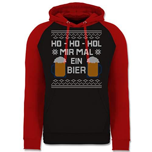 Weihnachten & Silvester - Ho Ho HOL Mir mal EIN Bier - M - Schwarz/Rot - Weihnachten - JH009 - Baseball Hoodie