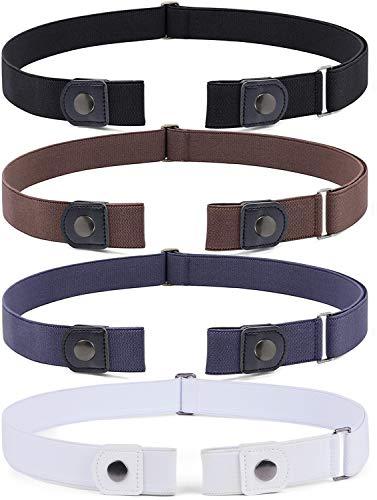 4 Stück Schnallenfreier Verstellbarer Gürtel Ohne Schnalle für Damen oder Herren, Unsichtbarer Elastischer Gürtel für Jeans Hosen, für Hosengrößen 55cm-90cm