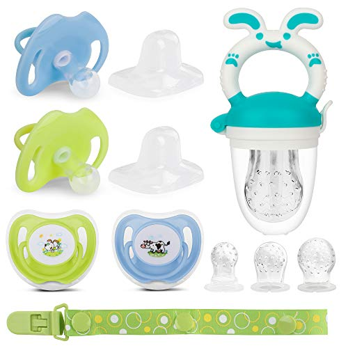 Johee's World Pacifier with lid, Newborn Pacifier, Baby Fruit Feeder Set 4X Pacifiers (0-6 M), Pacifiers (6-18 M). Silicone Binky and Pacifier Holder Clips for (0-18 M) Boy…