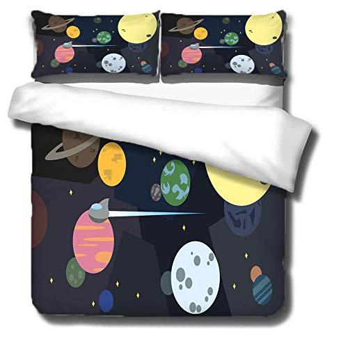 ZSDFPW Funda nórdica Impresa en 3D Negro Amarillo Naranja Cielo Estrellado Planeta Microfibra Ropa de Cama 3 Piezas 240cmx220cm con 2 Fundas de Almohada 50cmx75cm para Adolescentes Niñas Regalo