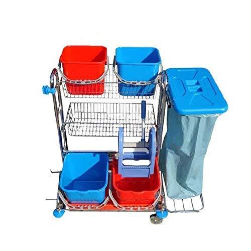 Vario 5 Reinigungswagen, Chrom Putzwagen mit 2x 17 L Eimer mit Presse, 2x 12 L Eimer, Körben und Müllsackhalterung
