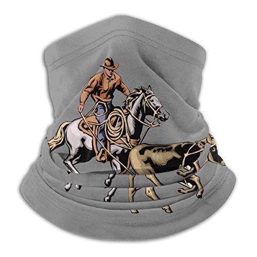 Cowboy Horse Rider Cuello Polaina Calentador a Prueba de Viento Cuello WarmerUV Face Balaclava Bufanda para Ourdoor Sport Negro