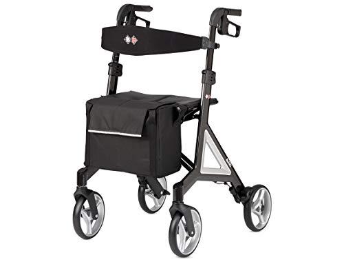 Bischoff&Bischoff Alevo Carbon Rollator, faltbar – Leichtgewicht-Rollator für drinnen und draußen, Gehwagen mit abnehmbarer Tasche, Silber
