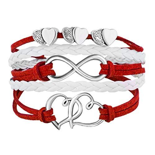 LovelyJewelry Leather Wrap Bracelets Girls Double Hearts Infinity Rope Wristband Bracelets Gifts ()
