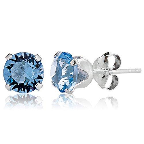 DTP Silver – Pendientes de plata en forma redonda con cierre de perno- Plata 925 con Cristal Swarovski Diámetro 8 mm – Color: Agua marina/Azul ligero