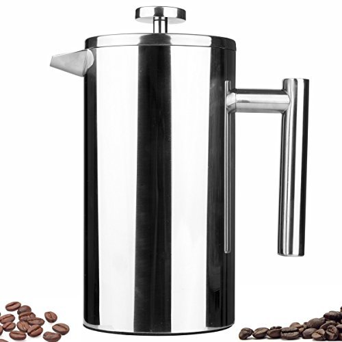 Kingnice 8 Cup Camping Stainless Steel Tea or Coffee French Press Coffee Maker, Thick Durable Non-slip (1000 ml, 34 oz)