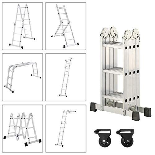 Froadp 340cm Escalera de Andamio en Aluminio Multifunción Plegable Escalera 6 en...