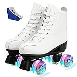 XUDREZ Double-Row Roller Skates for Unisex, Roller Skates PU Leather High-top Roller Skates Four-Wheel Roller Skates Shiny Roller Skates for Indoor Outdoor (White Flash,38)