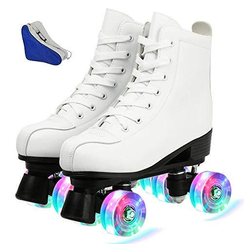 AYES - Patines de ruedas de piel sintética de alta calidad para interiores y exteriores, 4 ruedas, patinaje de piel, patines brillantes para mujeres, hombres, muchacho y niña (blanco Flash,6,5)