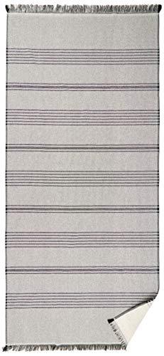 möve Eden Hamamtuch einseitige Schlinge mit Fransen 80 x 180 cm aus 80 % Baumwolle / 20 % Leinen, nature / black