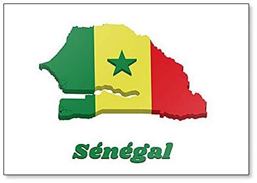 Kühlschrankmagnet mit Landkarte & Flagge von Senegal, klassisch