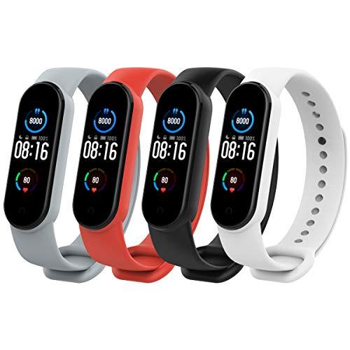 TiMOVO Armband Kompatibel mit Xiaomi Mi Band 5, [4-Pack] Silikon Atmungsaktiv Replacement Uhrenarmband Sportarmband Band Erstatzband mit Schließe - Mehrfarbig