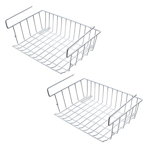 Sanlinkee 2 Pack Tackable Hanging Baskets,Under Shelf Hanging Wire Storage Basket Stackable Hanging Basket for Kitchen, Pantry, Cabinet,White