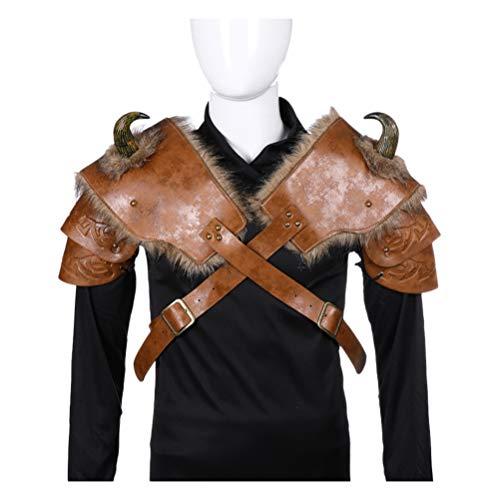 STOBOK Armadura de Hombro Cosplay de Cuero de Pu Clásico Traje de Vikingo Hombres Hombreras Guerreros Cubierta de Hombro para Fiesta de Cosplay (Izquierda Y Derecha)