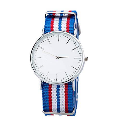 QHG Reloj de Rayas de Dos punteros y Reloj de Nylon Tejido de Nylon Reloj de Moda para Mujer (Color : A)