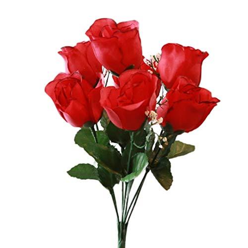 SN Decor 84 Silk Rose Buds Artificial Flowers for Wedding DIY Centerpiece Floral Arrangement (10'x4') Fake Roses Black Red Silk Flower with Gypsophila - New