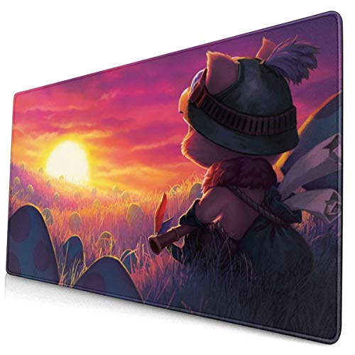 Large Gaming Mouse Pad for Teemo, Extended Long Desk Pad 12'x24' Mousepad Non-Slip Rubber Stitched Edges Keyboard Pad for Computers Laptop