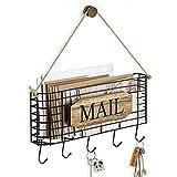 SRIWATANA Mail Holder, Rustic Mail Organizer Wall Mount Hanging Mail Sorter Letter Basket with 5 Key Holder Hooks, Large, Carbonized Black