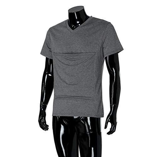 Ypnrd Männer Känguru Kurzärmeliges T-Shirt Baby-Trage Große Taschen Muskelshirt,XXXL