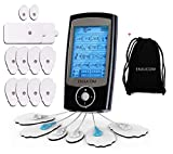 ENJUCOM TENS Unit 16 Modes Rechargeable Independent Dual Channel Muscle Stimulator 12 Pads