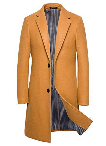 chouyatou Men's Stylish Single Breasted Notch Lapel Mid-Long Dress Wool Top Coat (Large, Khaki)