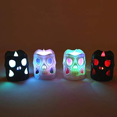 JXHD Veilleuse LED Skull Light/Santa Night Light,Parfaite Saint Valentin, Halloween, NoëL, Anniversaire Ou DéCoration De Bar, 5,3 × 6,5 Cm,4Pcs